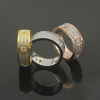 Brand Luxury Full Cz Love Ring 316l Stainless Steel Couple Ring With Stone Zircon Love Rings