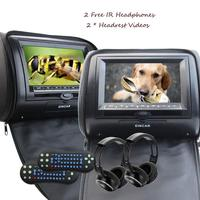 Pair of Monitor Car Headrest DVD Player Wide View LCD Digital Screen with USB IR FM Transmitter Include Wireless IR Headphones