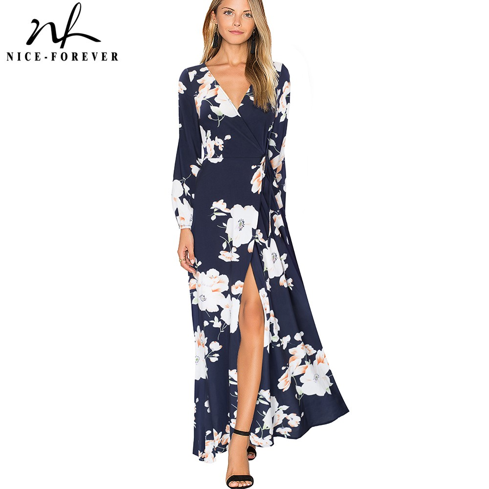Nice-forever Bohemian Causal Printed Flower Sexy V neck High Split vestidos Maxi Women Party Flare Summer Beach Dress A092