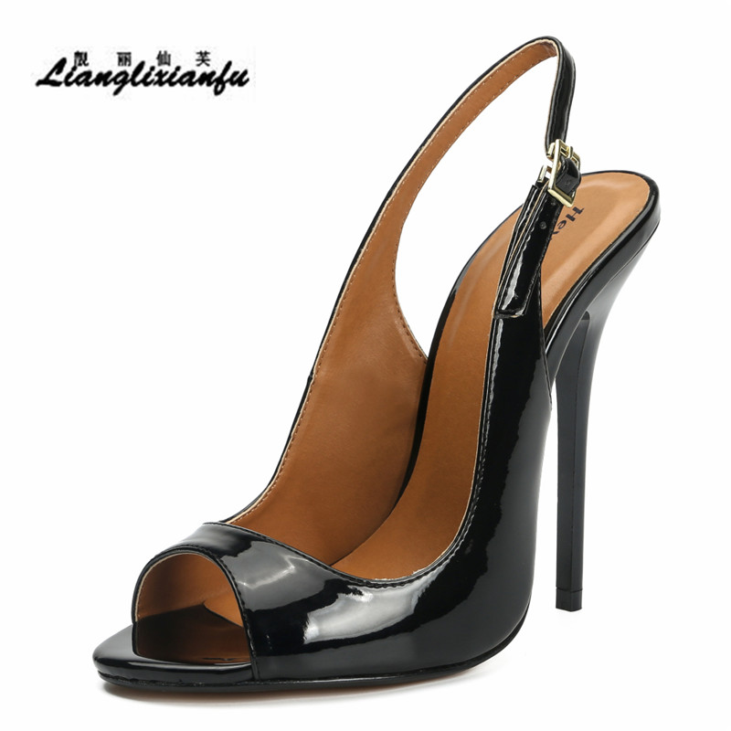 LLXF Zapatos Mujer 13cm Thin Heels Stiletto Slingbacks Shoes Woman Dress Pantent Leather Sandals Peep Toe Cosplay Pumps US16 17