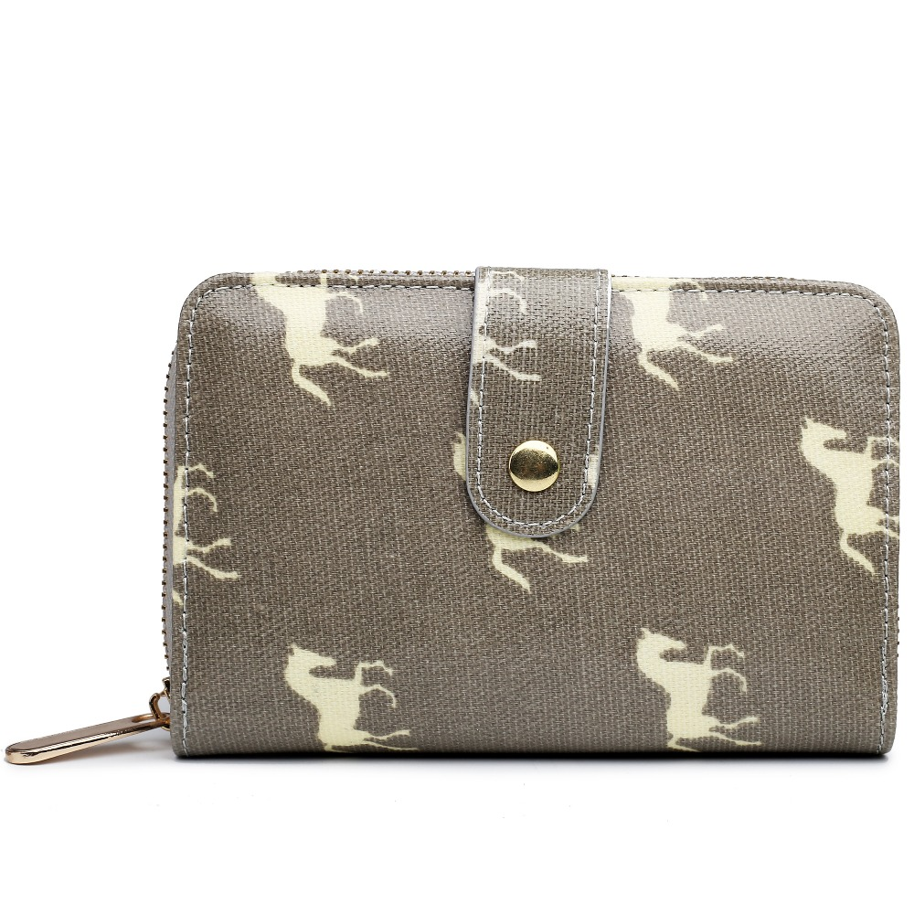 2017 Fashion Womens horse Print Wallets And Purses 6 Color Oilcloth Material Wallet Portefeuille Femme Fashion