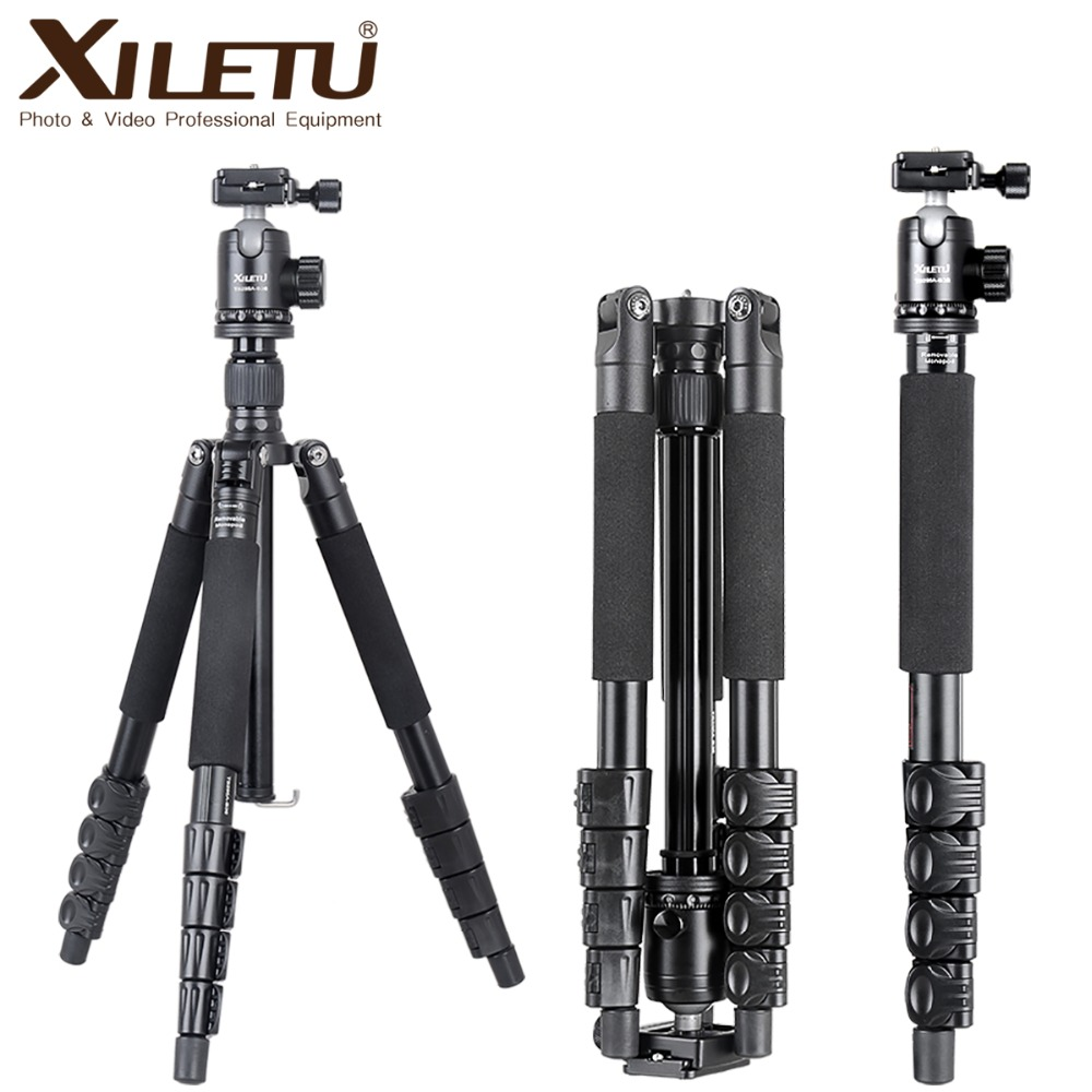 XILETU TB-255A+B36 Professional Portable trepied Stable Buckle Tripod & Ball Head kit Stand Bracket For DSLR Camera
