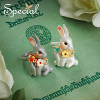 Special Fashion Smart Rabbit Rings Open Design Ceramic Rings Enamel Cartoon Animal Party Rings Jewelry Gifts