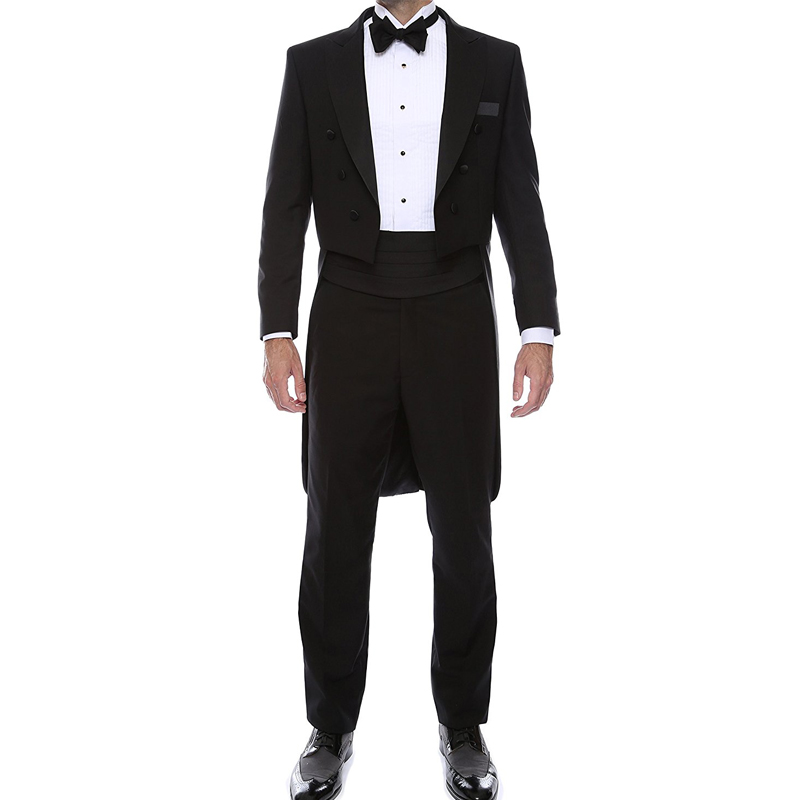 Black Wedding Groom Man Tail Coat Double Breasted Two Piece Best Men Suits 2019 Tailor Made Jacket Pants Waistband