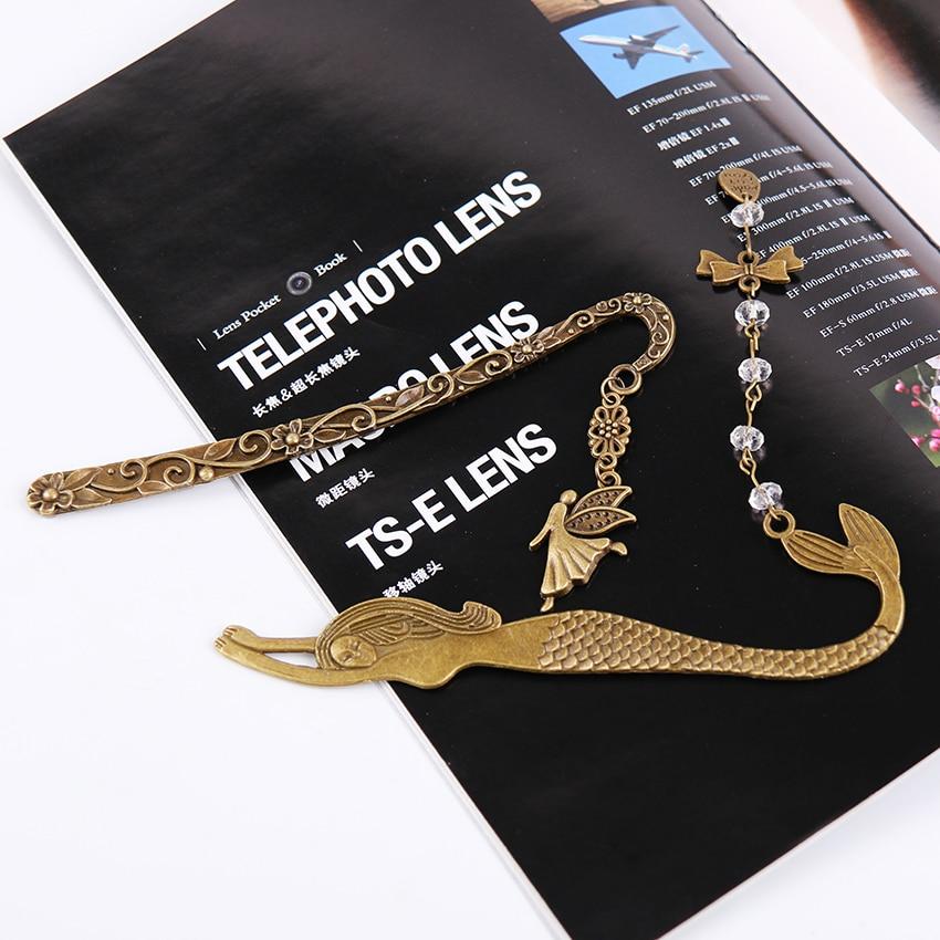 1 шт. Ретро Закладка из сплава металлов Русалка бисером или гений бабочка мода Винтажная закладка