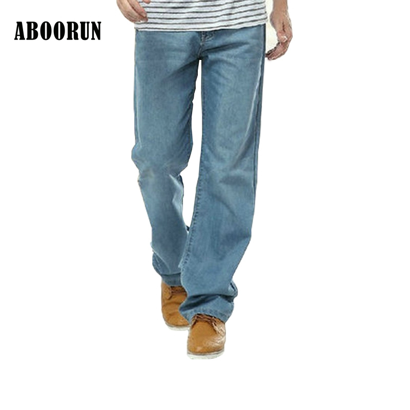 ABOORUN 2017 New Mens Baggy Jeans Blue Washed Thin Skateboard Denim Pants Hip Hop Loose Trousers Men B049 new high quality fashion men hip hop jeans famous brand baggy jeans loose pants color blue skateboard jeans size 30 46