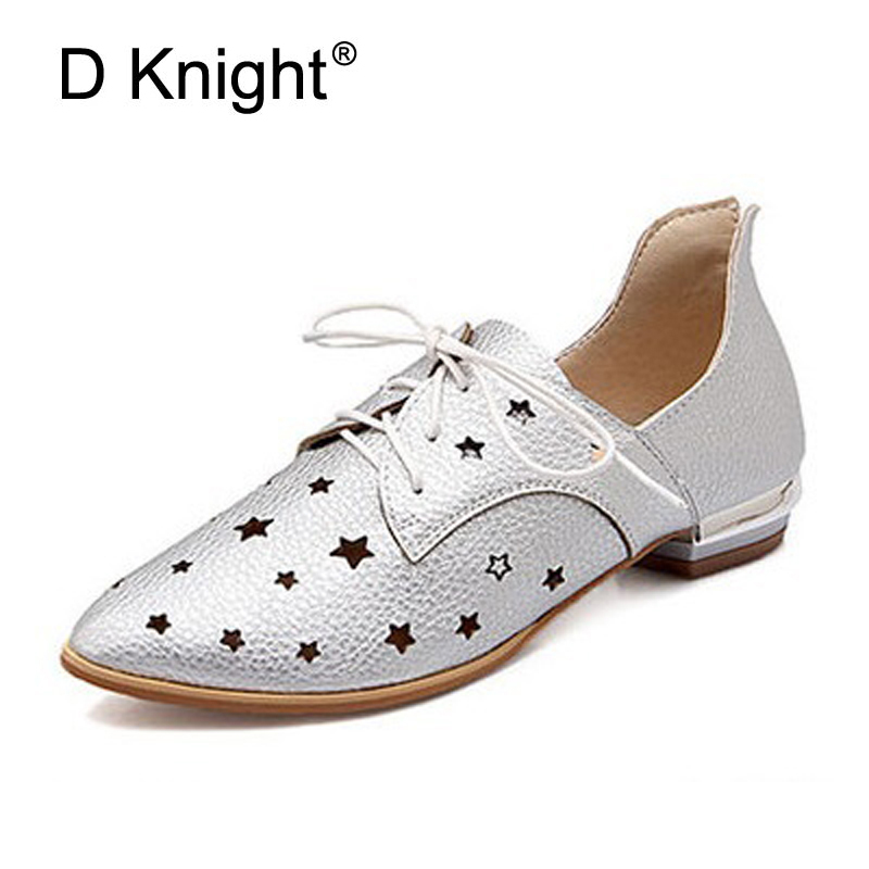 Women Casual Flat Shoes Summer Cut-Outs Sandals Ladies Pointed Toe Shoes Woman Lace-Up Oxfords For Woman Plus SIze 34-48 Flats ladies casual platform wedges oxford shoes for women metallic pu cut outs women high heels summer brogue oxfords shoes woman