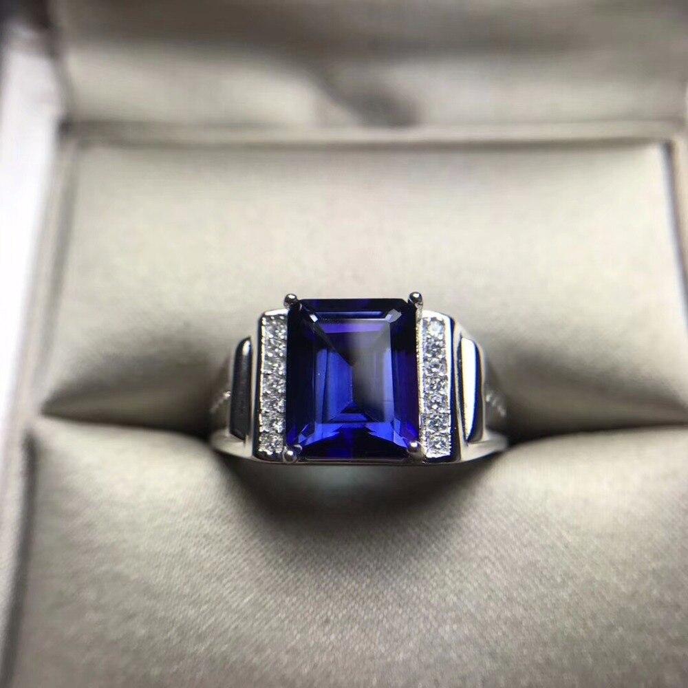 Pierre de topaze naturelle argent massif 925 anneaux hommes carré Tanzanite bleu pierres précieuses anneaux hommes bijoux en argent de qualité supérieure cadeaux