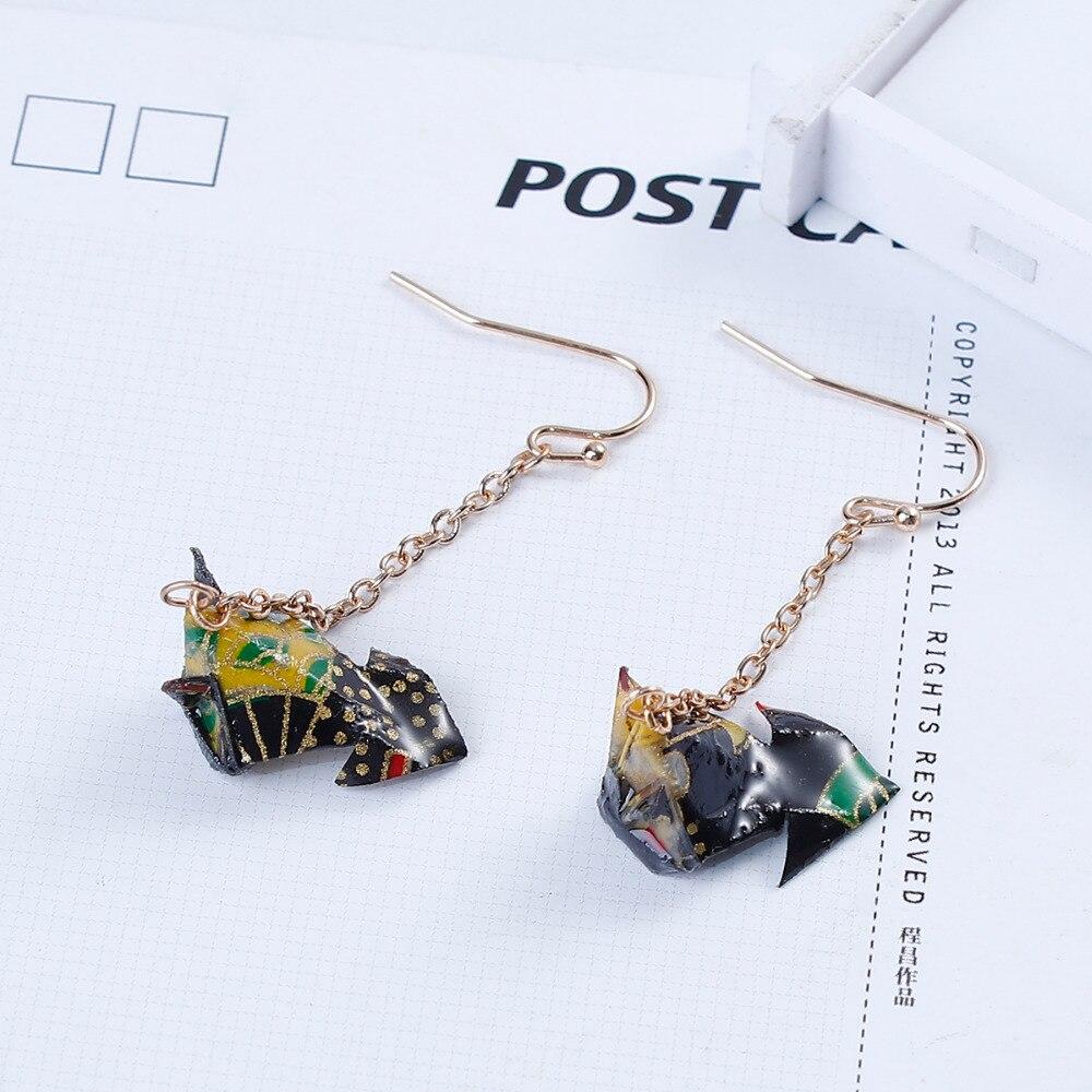 8SEASONS Washi Japanese Paper Origami Earrings Gold Color Black Fish ...