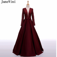 JaneVini 2018 Burgundy Pearls Mother of The Bride Dresses A Line Lace Long Sleeve Floor Length Satin Evening Gowns Abend Kleider