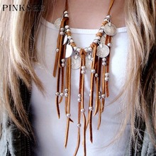 PINKSEE Bohemian Fringe Necklace Women Boho Vintage Dramatic Suede Long Velvet Tassel Chain Coin Charm Ethnic Necklace