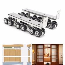 1 Pair/set Cold Rolled Steel Sliding Wooden Door Closet Hardware Kit 12  Wheels Hangers Roller Door Wheels Roller