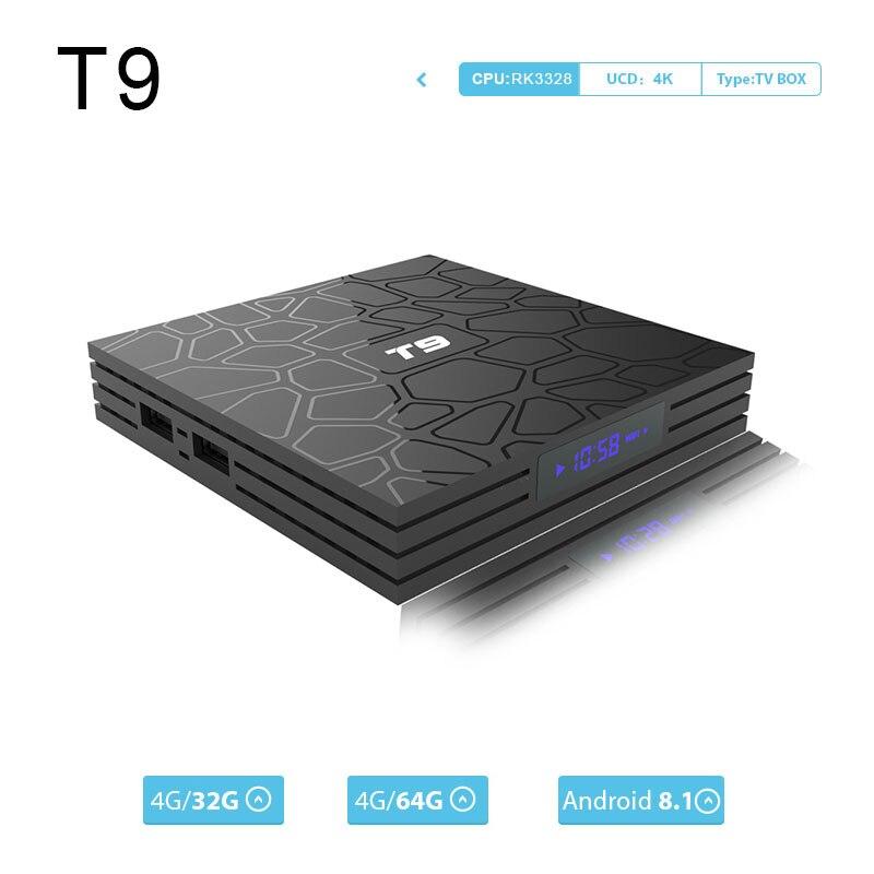 Caja de TV T9 Set Top TV Box Android 8,1 4 GB de RAM 32 GB/64 GB Rockchip RK3328 1080 P 4 K google player outube TV BOX pk mini TV box