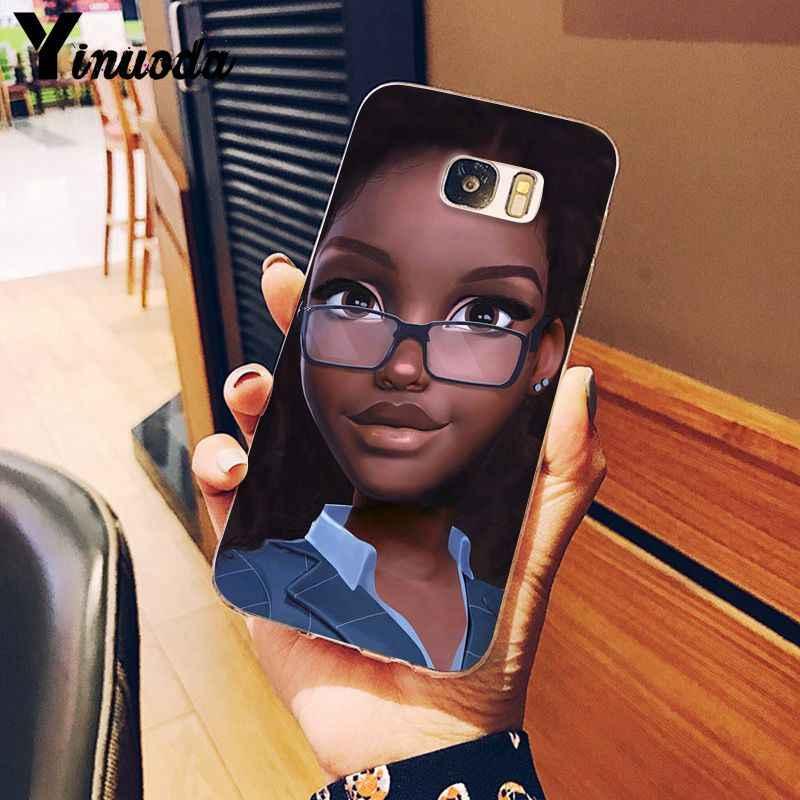 Yinuoda afryki uroda Afro Puffs czarny dziewczyna miękkie silikonowe telefon pokrywa dla Samsung S5 S6 S6 krawędzi S6edge Plus S7 s8 S9 Plus okładka