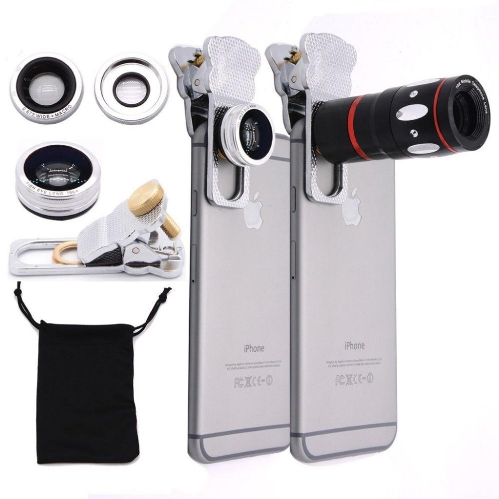 bilder für Universal Clip Objektiv 4 in 1 Fisheye + Weitwinkel & Macro + 10x Teleskop-Objektiv für Handy Digital Clamp Kamera Objektiv CL-3-LX