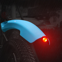 WHEEL UP Flectional Bike MTB Front Rear LED Mudguard Set Bike Bicycle Fender plastic Quick Release Cycling Taillight Fenders