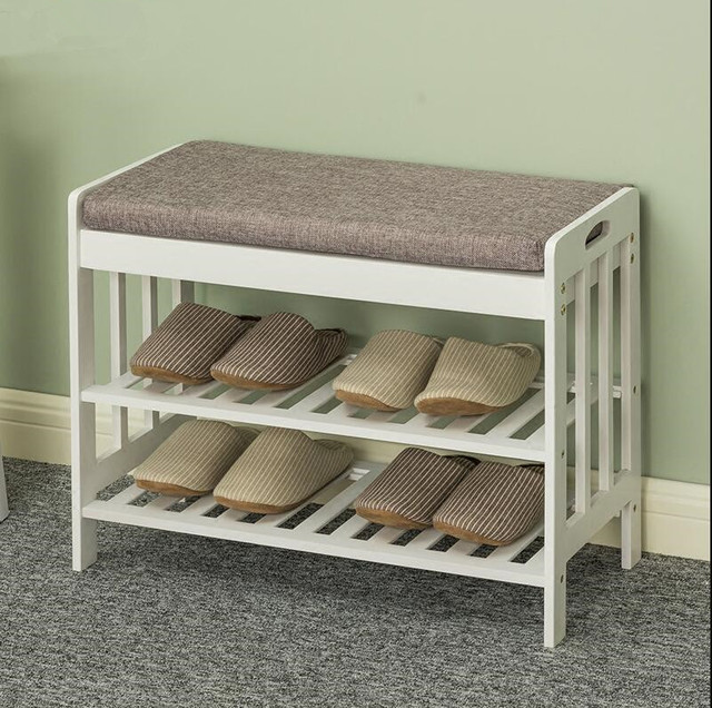 Natural Bamboo 100 Shoe Rack Bench With Cushion 2 Tier Entryway Shelf Storage