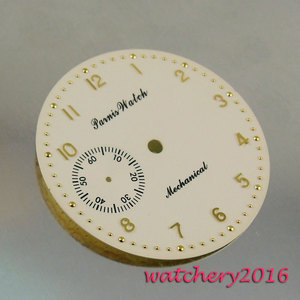 Image 2 - New 38.9mm yellow white dial rose golden Numbers fit 6497 movement Mens Watch dial