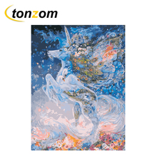 RIHE Unicorn Diy Painting By Numbers Horse Oil On Canvas Hand Painted Cuadros Decoracion Acrylic Paint Home Art