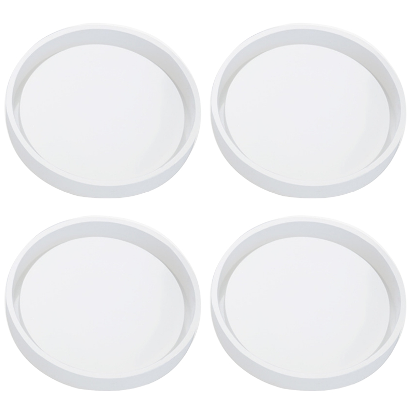 4 Pack Big Diy Round Coaster Silicone Mold, Diameter 3.94Inch/10Cm, Molds For Casting With Resin, Cement