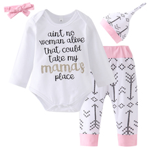 4 Pieces!! Newborn Baby Girl Clothing Set 2019 Spring Letter printed Jumpsuits+Cute Arrow Pants Clothes Outfit