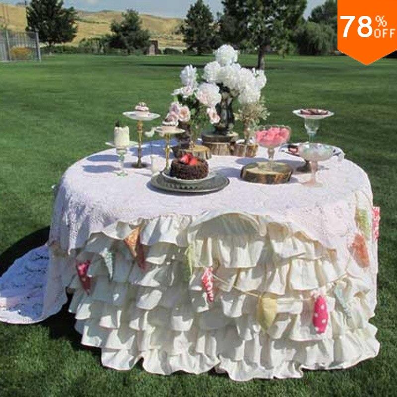 5 stelle Increspato Tovaglia a strati con 7 Livelli di Volant-Vintage & Shabby Event Decor, Wedding Decor desk copertura Biancheria Da Tavola