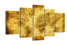 5 Panel Modern Abstract Wall Art Painting World Map Canvas Painting For Living Room Home Decor Picture Modular Painting