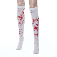 Funny Cosplay Novelty Halloween Women Bloodstain Pattern Long Over Knee Thigh-High Stocking Boot Meias Skarpetki #OR