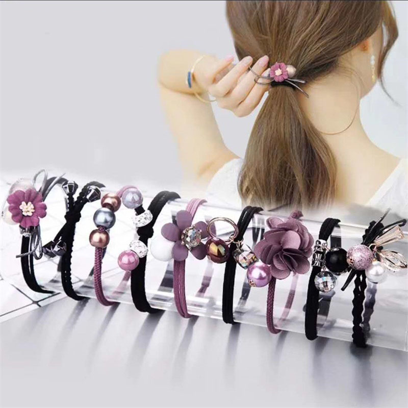 9PCS/SET Purple MIX Hair Accessories For Women Headband,Elastic Bands For Hair F