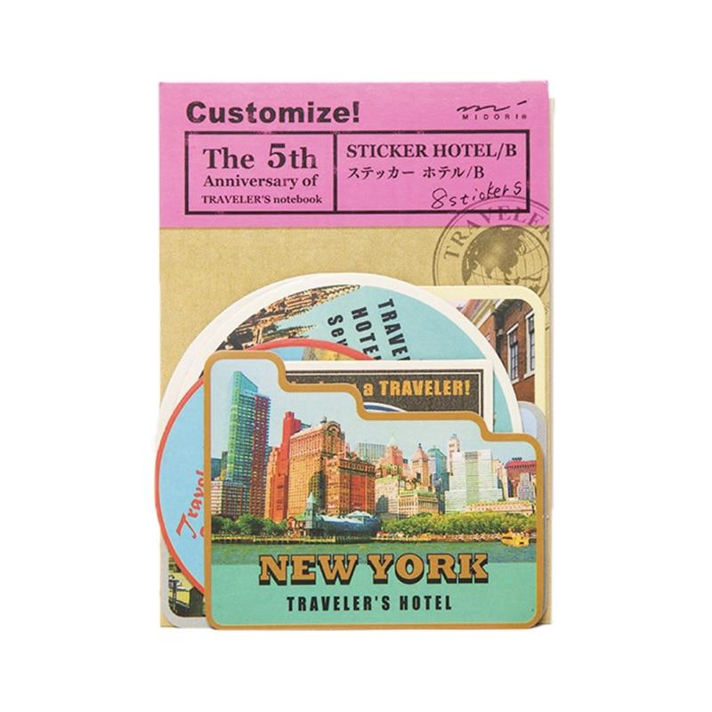8 Pcs / Pack Free Shipping Midori Travelers Notebook Vintage Travel Stamps Stickers Sheets Diy Multifunction B Hotels midori