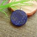 35mm High quality natural stone Lapis lazuli pendant pendulum flower of life pendants chakra jade healing suspension