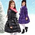 Jaqueta de inverno Para Baixo Para A Menina Roupa Dos Miúdos Crianças Snowsuits Casacos de Gola Alta Engrossar Pato Para Baixo Meninas Casaco Com Capuz Roupas Quentes