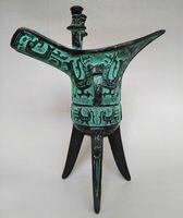 Hot Sales Chinese Antique Bronze Imitation Blue Three Legs Cup Mug phoenix Bird Jue Living room Home Decoration