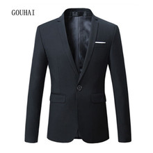 5 цветов одноцветное Для мужчин Блейзер Новинка 2017 года мужской Костюмы одной кнопки Повседневное тонкая куртка Блейзер Для мужчин костюм Homme Blaser masculino M-6XL