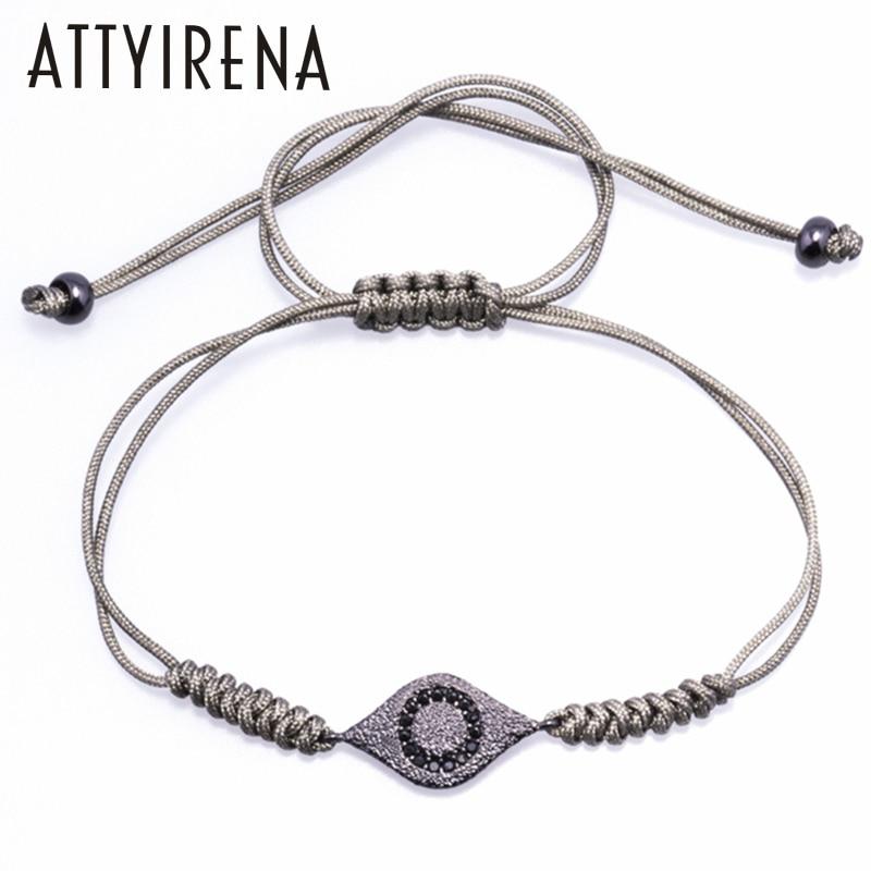 ATTYIRENA Fashion Style Pave Eye Charm Braiding Bracelet Charm Bracelet Micro inlay Black CZ Handmade Braiding Macrame Pulseras
