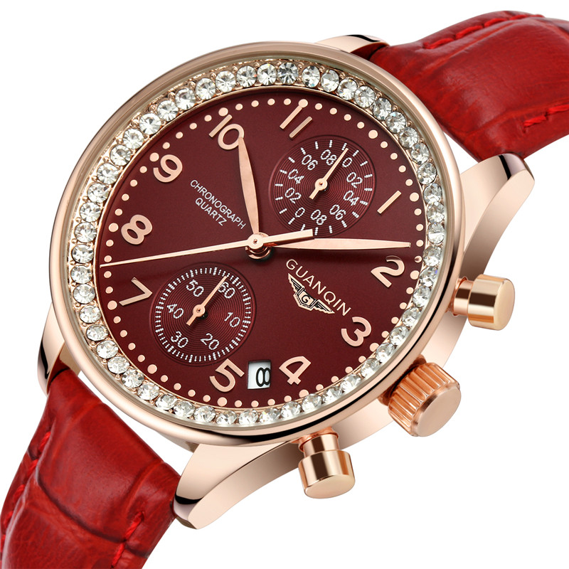 ФОТО GUANQIN Brand Fashion casual Watch Women Dress Quartz Watches Waterproof 100m diamond Leather Wristwatches relogio feminino