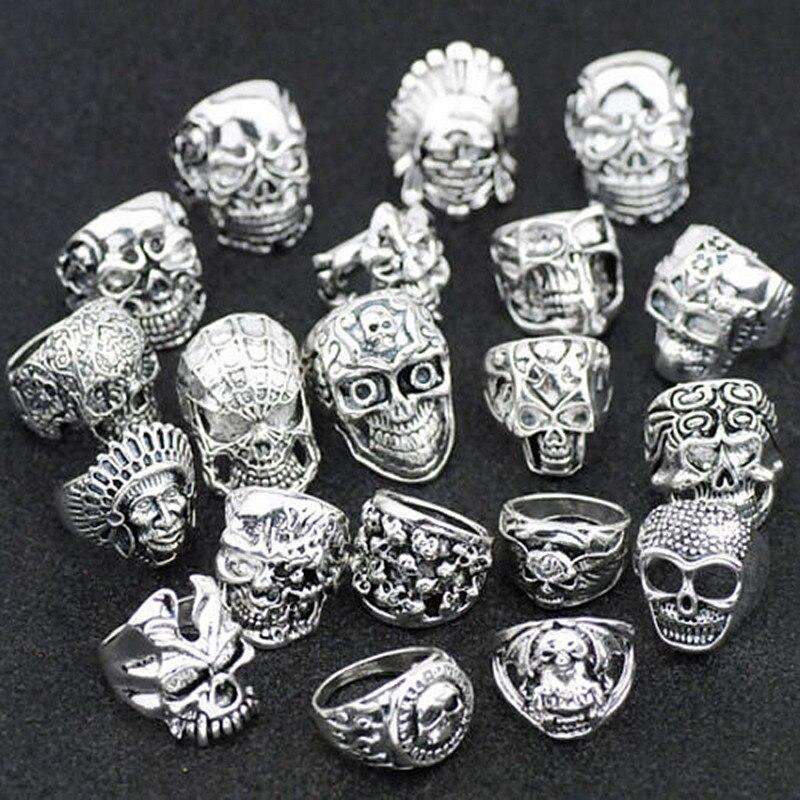 10pcs Men/'s Big Skull Rings Metal Skeleton Gothic Biker Punk Rings Job Lots