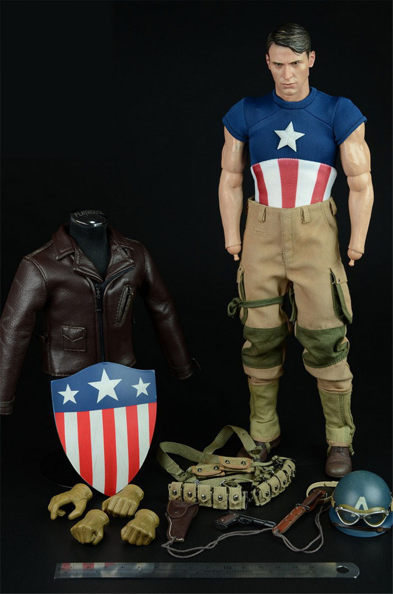 Mnotht 1/6 Captain America WWII salvation Edition Suit Set Coat Pants Shoes Bag Helmet  For12in Male Solider Model l30 1 6 captain america civil war mens leather jacket jeans suit with sunglasses shoes for 12 inches figures