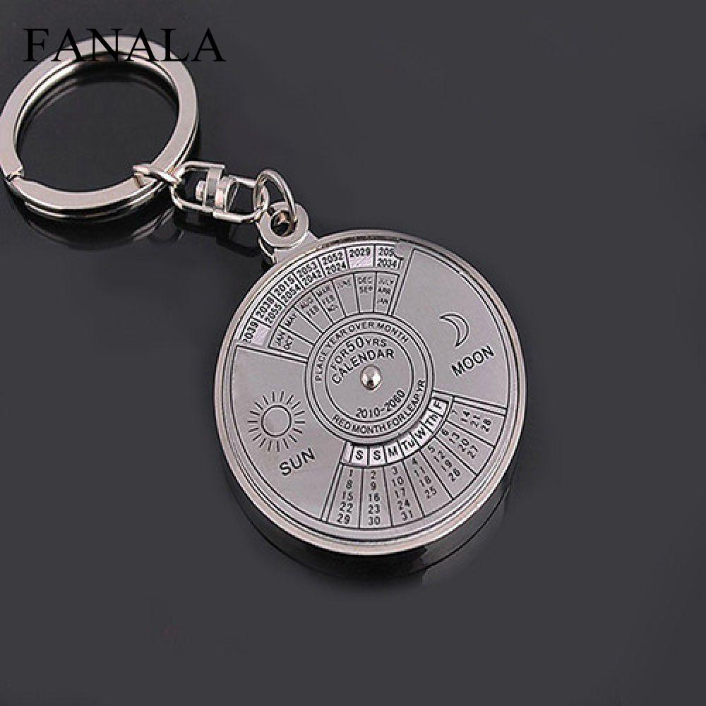 New Fashion Personalized 50 Years Perpetual Calendar Keyring Keychain Silver Alloy Key Chain Ring Keyfob Office & School Supplies