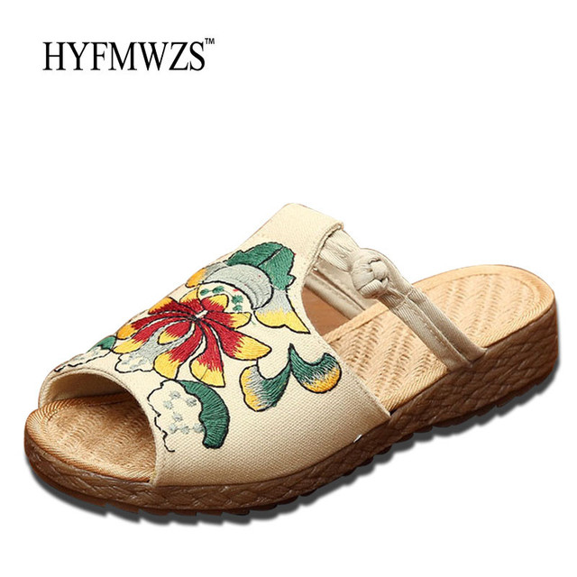 1b6b3c4f2 HYFMWZS 2017 Fashion Designers Chinese Style Handmade Sandals Slippers For Women  Shoes Summer Comfortable Slippers Zapatos Mujer