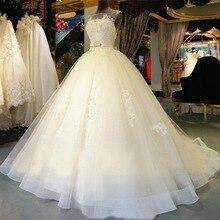 2017 New O-neck  Lace cheap Wedding Dress Romantic Robe De Mariage Vestido Noiva Sheer Backless Bride Dresses