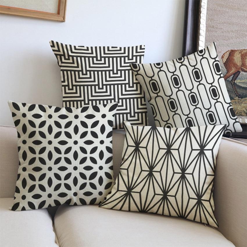 2018 Navy Blue White Cream Geometric Throw Cushion Covers