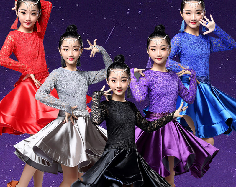 Latin Dance Dress For Girls Long Sleeve Lace Standard Ballroom Dancing Dresses For Kids Performance Wear Salsa Clothes