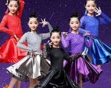 Robe de danse latine pour filles à manches longues dentelle Standard robes de danse de salon pour enfants Performance vêtements Salsa vêtements