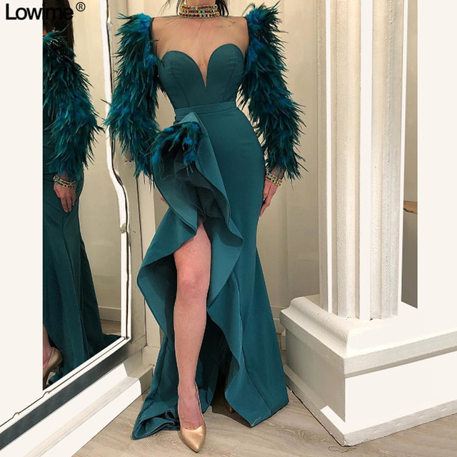 Sexy High Split Ruffles Celebrity Dresses 2018 Long Sleeves With Feathers vestido de festa Mermiad Long Red Carpet Dresses