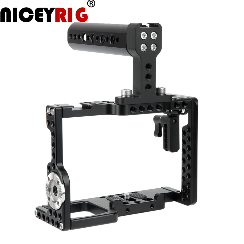 NICEYRIG Camera Cage Rig for Sony a7m3 a7r3 A7RIII a73 A7III a7m3 A7MIII A9 a7r2 A7RII a7s2 A7SII dslr Rig Top Hand 1/4 1/4