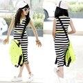 White Black Striped Girls Maxi Dress With Belt 2017 Summer Style Cotton Dress for Girls Beach Slit Dress Teenage Girls Vestidos