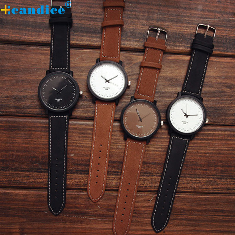 Korean Fashion Male Couple Watches Female Round Steel Case Students Korean Casual Retro Leather Belt Quartz Wrist watch male and female students personality watch oversized dial skull pattern leather watchband neutral retro couple watches