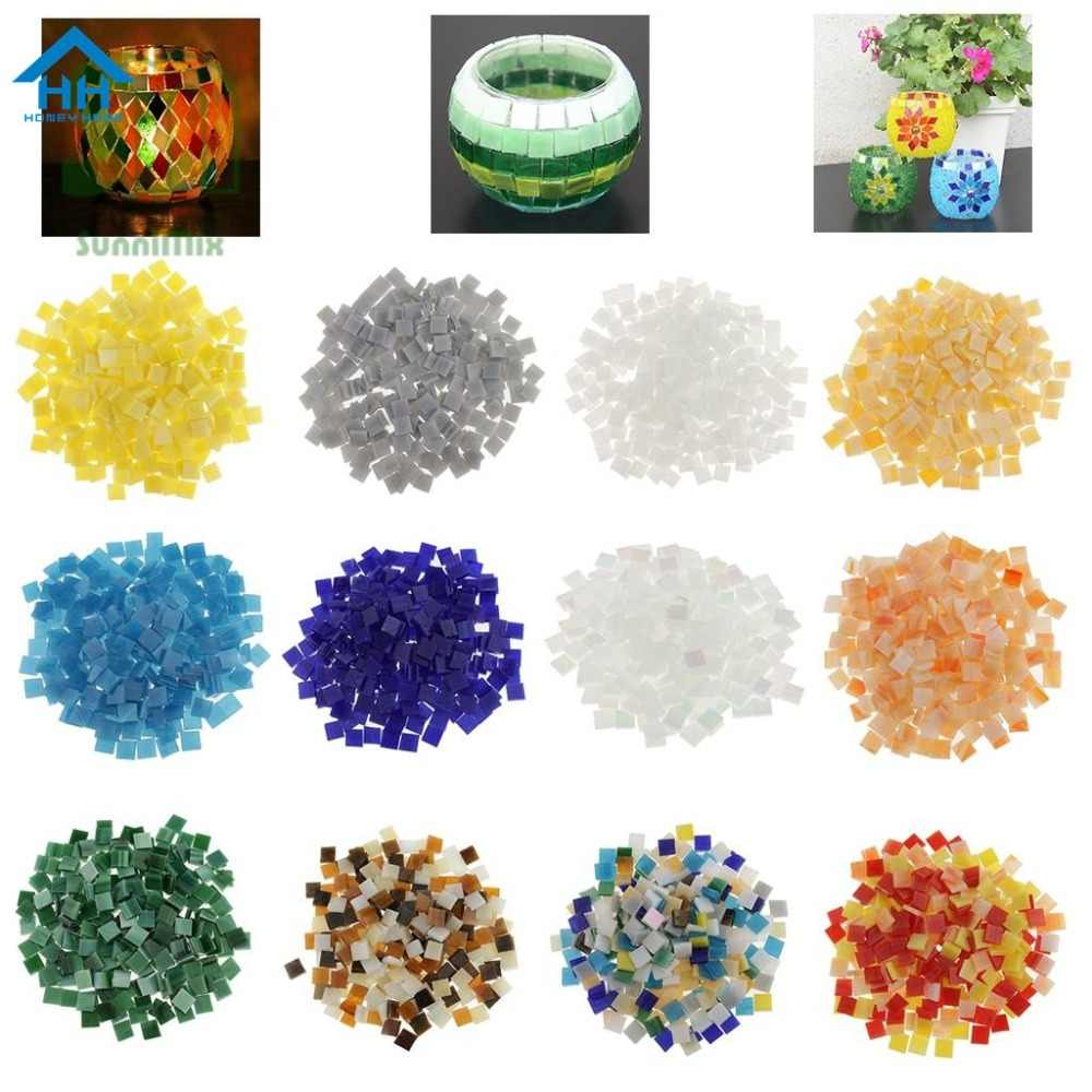 110 Pieces Square Glass Mosaic Tiles Pieces For Diy Art And Crafts Supplies Kids Vitreous Puzzle Art Craft Kid Transparent Stone