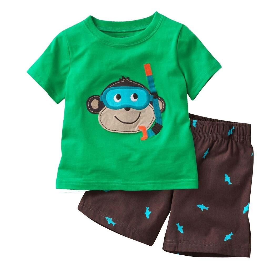 Hooyi Diving Monkey Baby Boy   Pajamas   Clothes   Sets   100% Cotton Cartoon Kids Home Wear 2 3 4 5 6 7 Year Children Tee Shirts Shorts